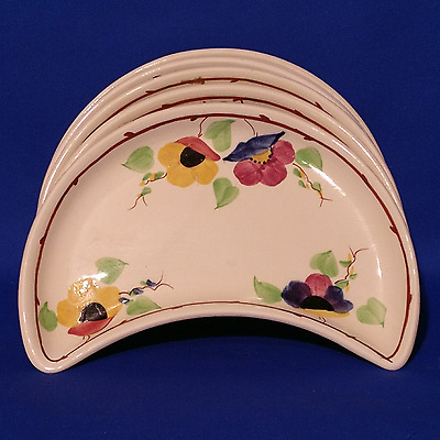 """1930s GEORGE JONES - 6 x COTSWOLD Hand Painted CRESCENT Shaped 8"""" SIDE PLATES"""