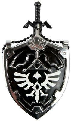 Mini Dark Hylian Shield & Links Master Sword Legend of Zelda Necklace Black 25""
