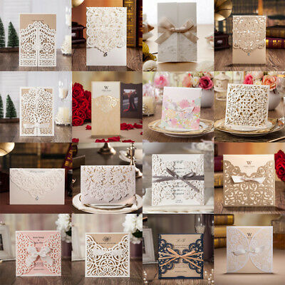 Wedding Invitation Card Personalized Laser Cut Romantic Party Floral Lace Xmas