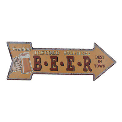 Tin Metal Sign Plaque Bar Pub Retro Wall Art Poster Ice Cold BEER Sold Here