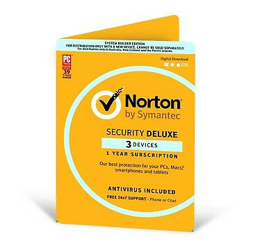 Symantec Norton Internet Security Deluxe 2018 Antivirus 3 Users 1 Year PC MAC