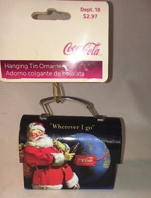 Coca Cola Hanging Tin Ornament Lunch Box Coke Santa New With Tags 2007