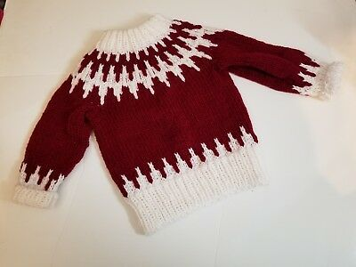 Kids Size 3t Christmas Sweater Beautiful! UNISEX handmade crotched red *read*