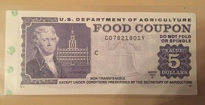 1994 B $5 five dollar US Department of Agriculture Food Stamp coupon