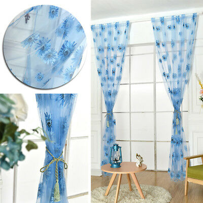 Green Sunflower transparent decoration Sheer blue tulle Living room curtains