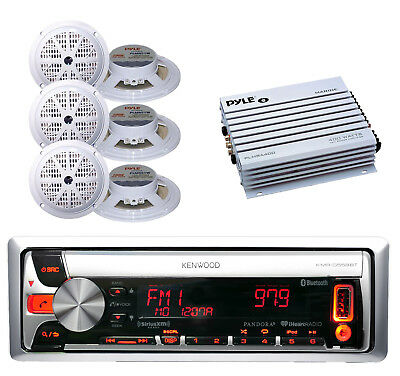 "Best Marine In Dash CD USB MP3 AM/FM Pandora Radio + 6x 5.25"" Speakers, 400W Amp"