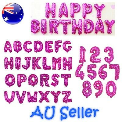 """Rose Pink Foil Balloons 16"""" Alphabet Letter Number For Birthday Wedding Party"""
