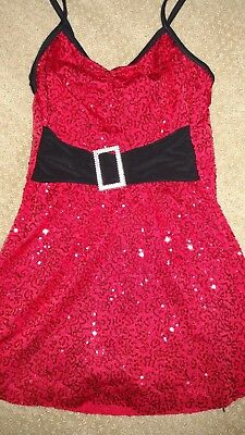 Christmas sparkly red holiday dance costume Lg child