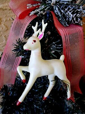 Vintage White Celluloid Prancing Reindeer Christmas Decor/ornament
