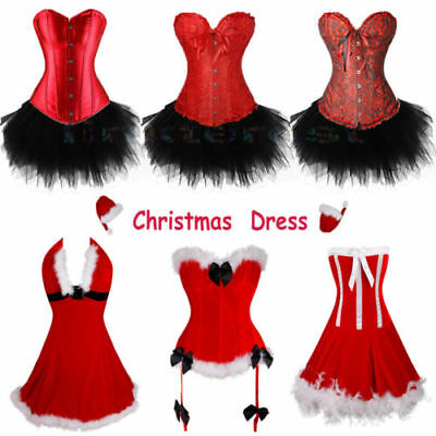 AU Miss Santa Corset Bustier Xmas Outfit Womens Christmas Fancy Dress Shapers