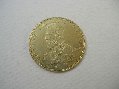 1906 Romanian Gold Piece 25 Lei .900 Gold  CAROL (I), Only 24,000 Minted