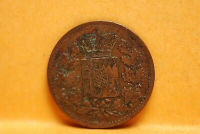 Germany - Bavaria, 1866 Pfennig, KM471, Very Fine                  Or Best Offer