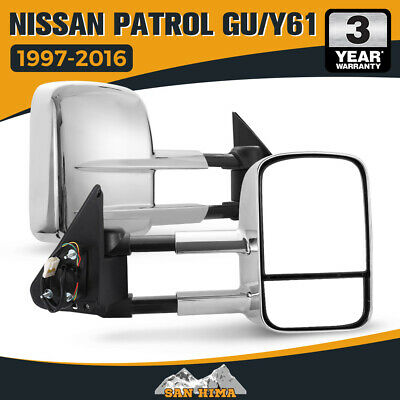 Pair Caravan Towing Side Mirrors Extendable Nissan Patrol 1997- On Chrome