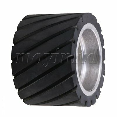 7 x 5cm Tooth-surface Rubber Wheel Aluminum Core for Belt Grinder Black