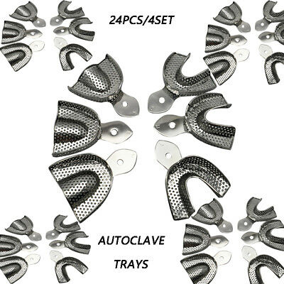 24PC/4set Dental Stainless Steel Anterior Impression Trays  S M L size autoclave