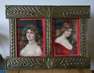 Antique Arts and crafts double photo frame glass cabochons