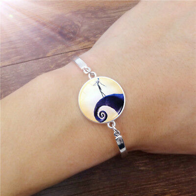 Silver Glass Bracelet - Nightmare Before Christmas Jack Skellington Jewellery