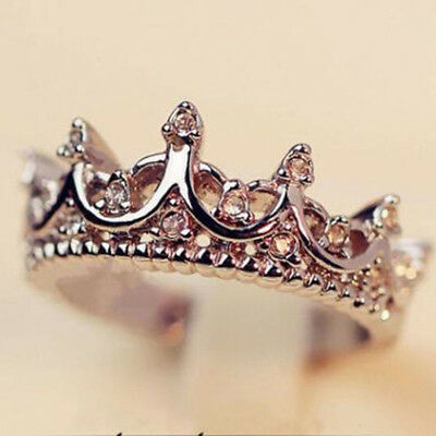 Fashion Princess Women Rose Gold Silver Rhinestone Crown Ring Size 5 6 7 8 9 New