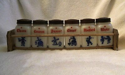 Set of  6 Six Vintage Dutch Spice Shakers with Holder Stand  Frank Tea and Spice