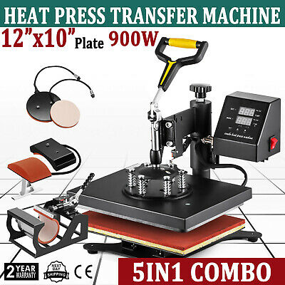 New 5 in 1 Digital Transfer Sublimation Heat Press Machine for T-Shirt 12X10 USA