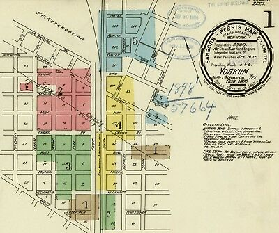 Yoakum, Texas~Sanborn Map© sheets~ 1894 to 1922 45  maps~~on CD in full color