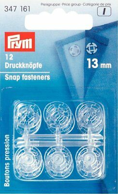 PRYM 13mm Sew-on snap Fasteners Plastic Size Transparent 12 pieces