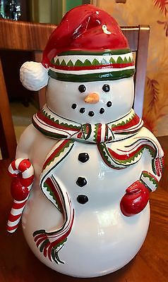 Harry & David Collectible Christmas Snowman Express Cookie Jar New