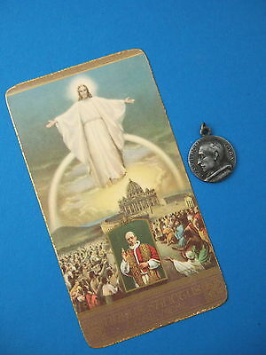 Vintage Catholic MEDAL Pope Pius XII  + 1950 Holy Year Holy Card Jesus Vatican