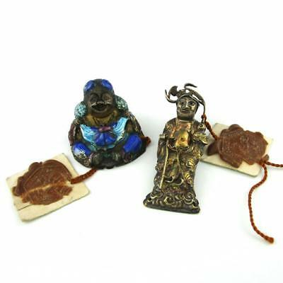 2 Antique / Vintage Chinese Silver & Enamel Hat Ornaments w/ Export Wax Seals