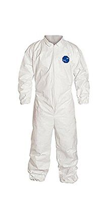 DuPont Tyvek 400 TY125S Protective Coverall, Disposable, Elastic Cuff, White, of