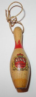 1940's Brunswick Red Crown King All Wood Painted Bowling Pin Coin Button Pinback