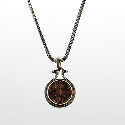 ancient coin necklace,sterling silver necklace with authentic ancient roman coin