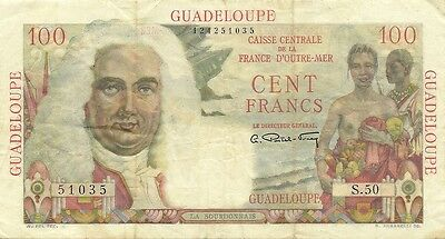 Guadeloupe 100 Francs  1947-49 Issue  P-35  Nice Bright Problem-Free Banknote