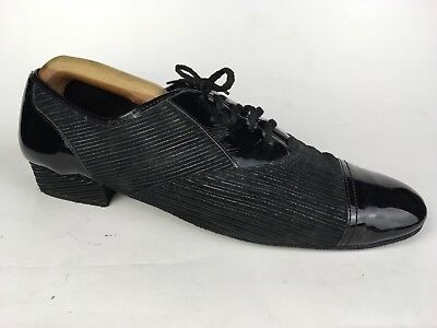DIAMANT Men's Black Lace Up Dance Shoes Made in Germany SZ 12.5 Striped Cap Toe