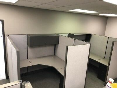 Herman Miller custom AO2 cubicles 6 x 6 Gray panels and Dark gray surfaces
