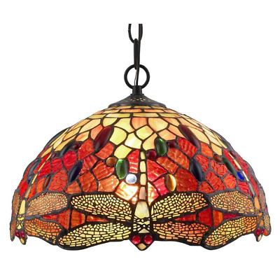 Stained Glass Dragonfly Hanging Pendant Light Unique Home Tiffany Elegant Bronze