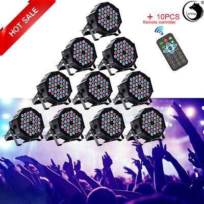 10PCS 80W 36 LED RGB DJ Stage Lighting PAR Light + Remote DMX Party Disco Club