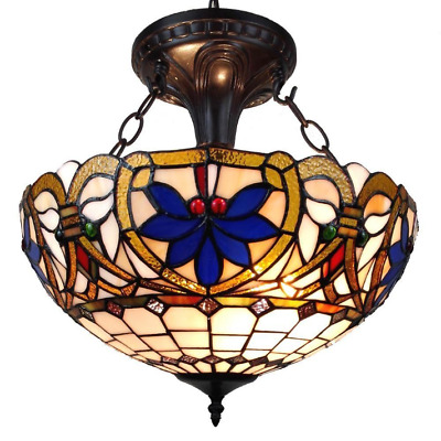 Stained Glass Victorian Hanging Pendant Light Unique Home Tiffany Elegant Bronze