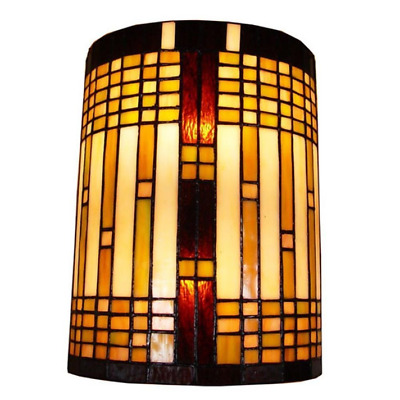 Geometric Wall Sconce Light Mission Tiffany Stained Glass Elegant Bronze Fixture