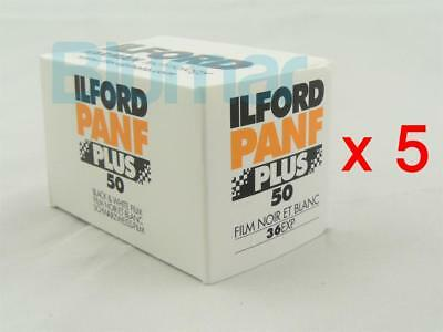 5x rolls ILFORD PANF 50 PLUS ,ISO 50 ,B&W NEGATIVE Film 35mm FRESH