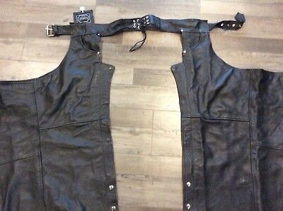 Unisex Genuine Leather Motorcycle Chaps Size Small Black for Harley