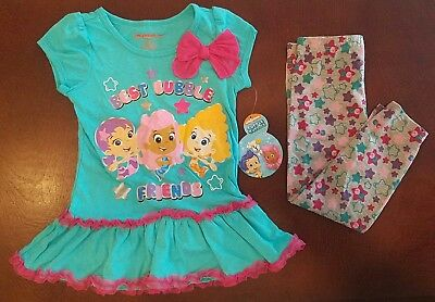 Bubble Guppies Toddler Girl Best Bubble Friends Shirt & Leggings Outfit New 4T