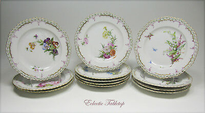 Set Of 12 Antique Kpm Reticulated Hand Painted Plates