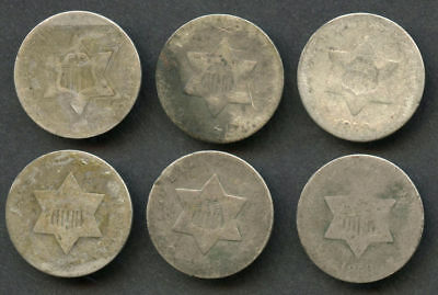 Lot of 6 Three Cent Silvers