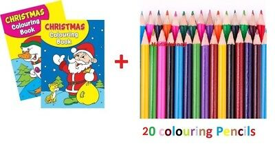 2 x A4 150 PAGE JUMBO CHILDREN'S CHRISTMAS COLOURING BOOKS +20 COLORING PENCILS