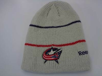 61e3ebaea61 Columbus Blue Jackets Reebok NHL Knit White Pom Cuffless Hat Cap Toque  Beanie OS