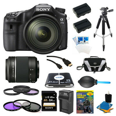 Sony a77II 24.3MP HD 1080p DSLR Camera w/ 16-50mm & 55-200mm Lens w/ Pro Bundle