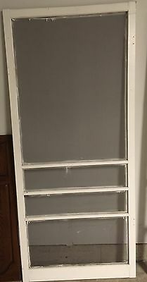 Vintage White Wooden Screen Door