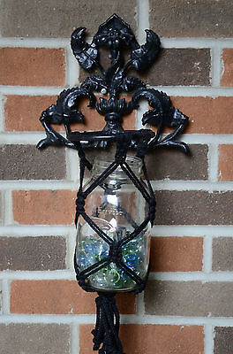 Vintage  Plant Flower Pot Holder Wall Cast Iron Ornate Flower Candle Holder