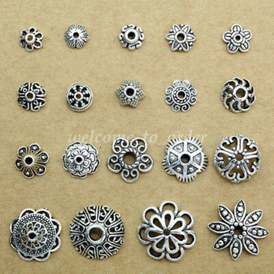 Wholesale Hollow Tibetan Silver Flower End Bead Cap Connector DIY Jewelry Making